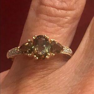 Twilight Fire Topaz & Diamond Ring Size 7